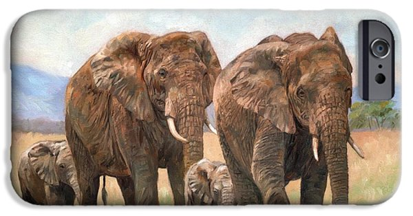 Elephant iPhone Cases - African Elephants iPhone Case by David Stribbling