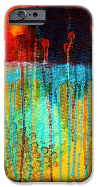 Red Abstract iPhone Cases - After Midnight iPhone Case by Nancy Merkle