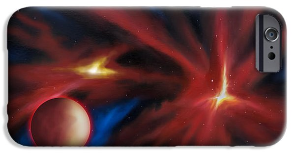 Black Hole Paintings iPhone Cases - Agamnenon Nebula iPhone Case by James Christopher Hill