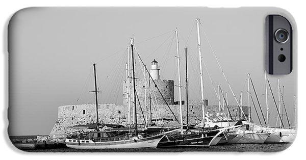 Mandraki iPhone Cases - Agios Nikolaos lighthouse iPhone Case by George Atsametakis