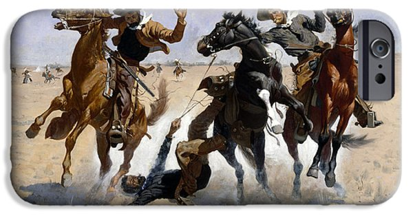 Frederic Remington iPhone Cases - Aiding a Comrade iPhone Case by Frederic Remington
