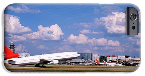 Commercial Photography iPhone Cases - Airplane Taking Off, Zurich Airport iPhone Case by Panoramic Images