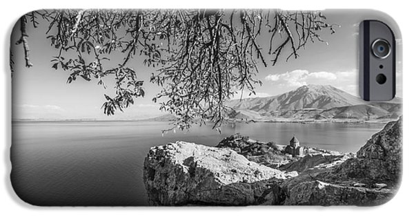 Panoramic Pyrography iPhone Cases - Akdamar Island iPhone Case by Emirali  KOKAL