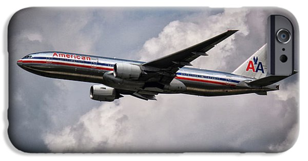 Retraction iPhone Cases - American Airlines Boeing 777 iPhone Case by Rene Triay Photography