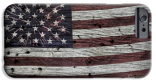 Blue Fireworks iPhone Cases - American Flag Fireworks iPhone Case by John Stephens