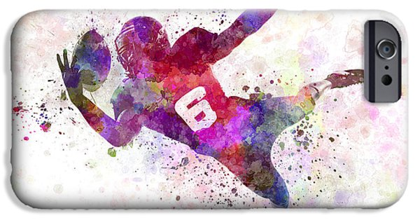 American Football Paintings iPhone Cases - American Football Player Catching Ball  Silhouette iPhone Case by Pablo Romero