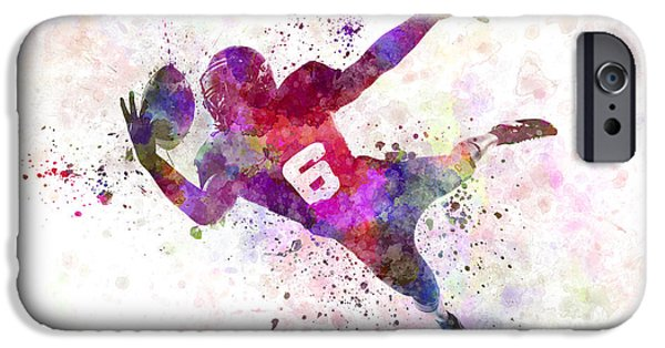 Cut-outs Paintings iPhone Cases - American Football Player Catching Ball  Silhouette iPhone Case by Pablo Romero