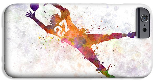 Cut-outs Paintings iPhone Cases - American Football Player Man Catching Receiving iPhone Case by Pablo Romero