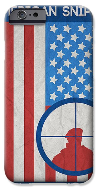Marine Corps Digital iPhone Cases - American Sniper Minimalist Movie Poster iPhone Case by Celestial Images