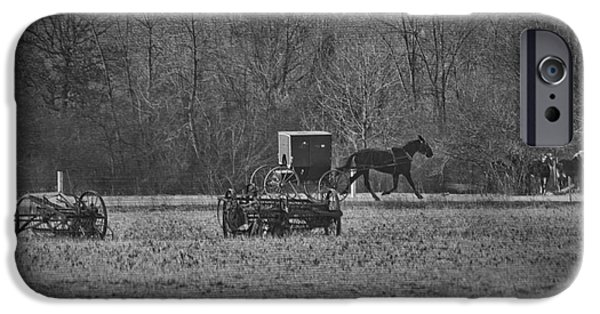 Amish Photographs iPhone Cases - Amish Buggy Black and White iPhone Case by David Arment