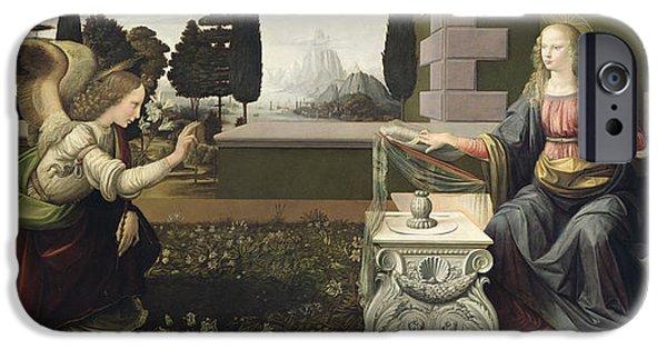 Jesus Drawings iPhone Cases - Annunciation iPhone Case by Leonardo Da Vinci