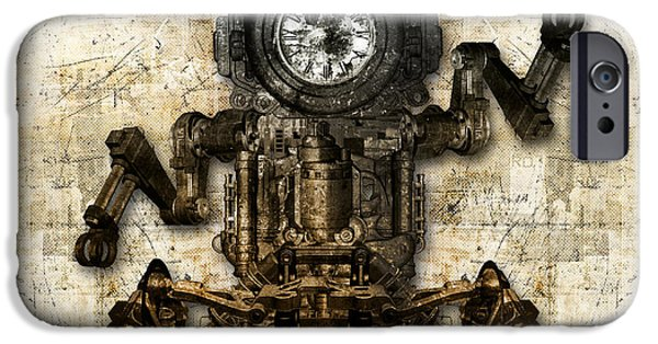 Component Mixed Media iPhone Cases - Antique mechanical figure iPhone Case by Diuno Ashlee
