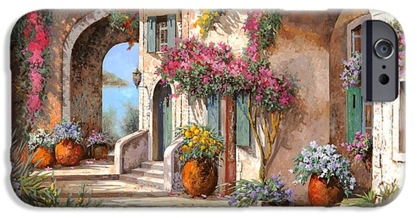 Street Scene Paintings iPhone Cases - Archi E Fiori iPhone Case by Guido Borelli
