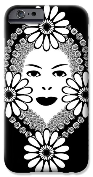 Big Hair iPhone Cases - Art Nouveau Woman iPhone Case by Frank Tschakert