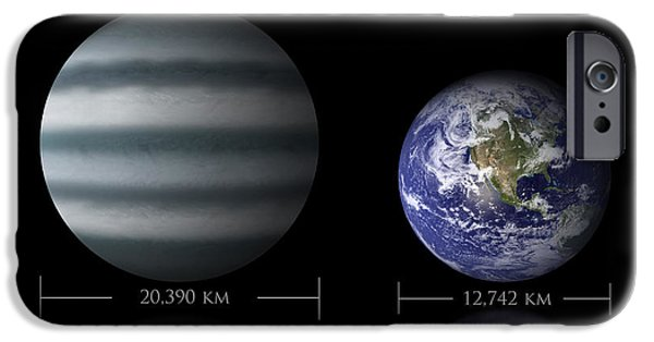 Terrestrial Sphere iPhone Cases - Artists Depiction Of The Size iPhone Case by Marc Ward