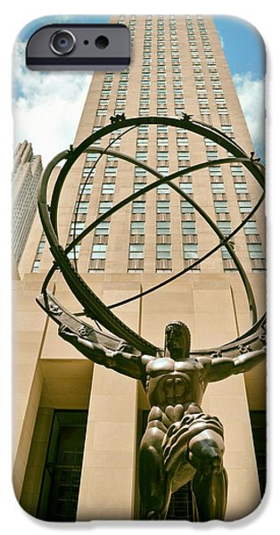 Skylines Sculptures iPhone Cases - Atlas in New York City iPhone Case by Mountain Dreams