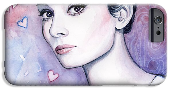Icon Mixed Media iPhone Cases - Audrey Hepburn Fashion Watercolor iPhone Case by Olga Shvartsur
