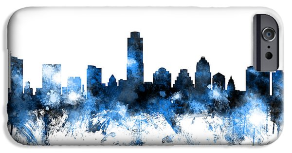 States iPhone Cases - Austin Texas Skyline iPhone Case by Michael Tompsett