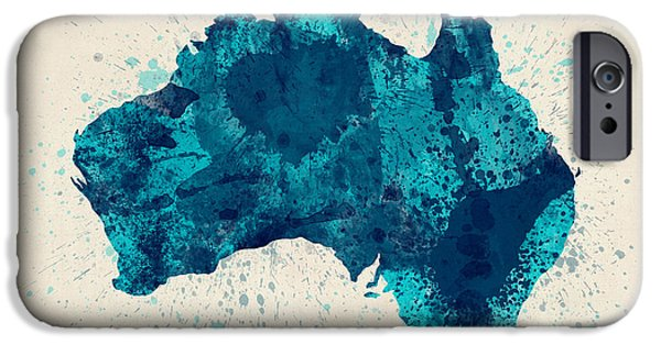 Wales iPhone Cases - Australia Paint Splashes Map iPhone Case by Michael Tompsett
