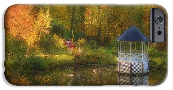 New Hampshire Fall Scenes iPhone Cases - Autumn Gazebo iPhone Case by Joann Vitali