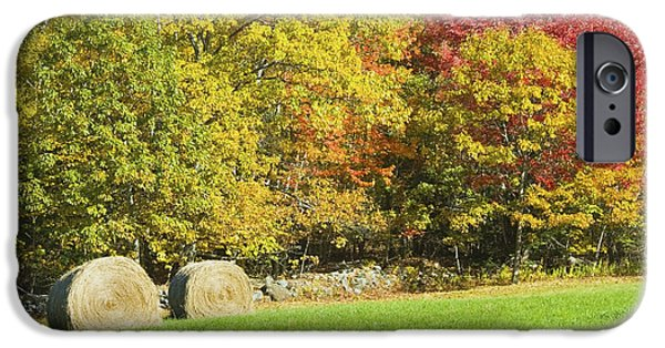 Agriculture iPhone Cases - Autumn Hay Being Harvested In Maine iPhone Case by Keith Webber Jr