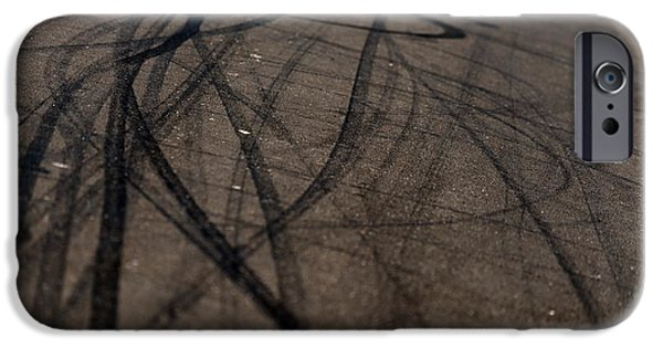 Asphalt Pyrography iPhone Cases - Background with tire marks iPhone Case by Oliver Sved