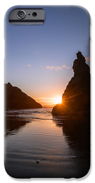 Reflections Of Sun In Water iPhone Cases - Bandon Beach sunset iPhone Case by Vishwanath Bhat