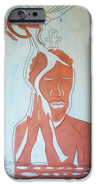 Contemporary Ceramics iPhone Cases - Baptism of the Lord Jesus iPhone Case by Gloria Ssali