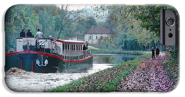 Recently Sold -  - Pleasure iPhone Cases - Barge on Burgundy Canal iPhone Case by Carl Purcell