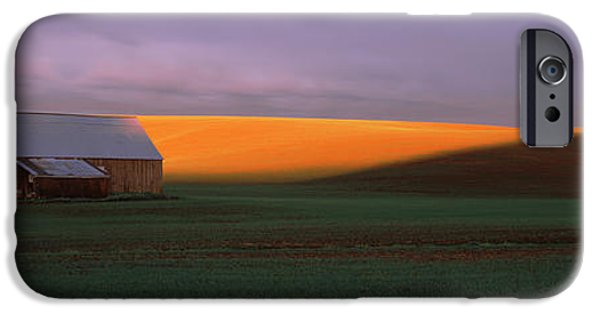 Farm Building iPhone Cases - Barn In A Field At Sunset, Palouse iPhone Case by Panoramic Images