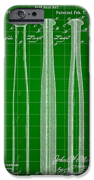 Fast Ball iPhone Cases - Baseball Bat Patent 1888 - Green iPhone Case by Stephen Younts
