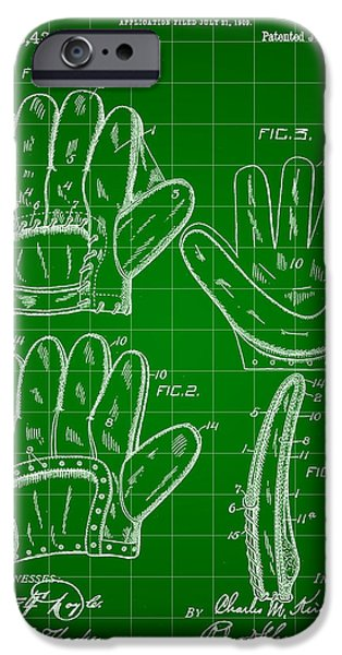 Fast Ball iPhone Cases - Baseball Glove Patent 1909 - Green iPhone Case by Stephen Younts