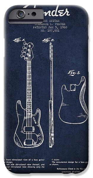 Technical iPhone Cases - Bass Guitar Patent Drawing from 1960 iPhone Case by Aged Pixel