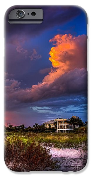 Dark Sky iPhone Cases - Beach Front Rain iPhone Case by Marvin Spates