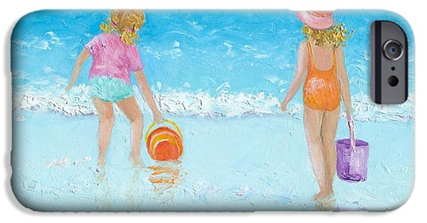 Little Girl iPhone Cases - At the seaside iPhone Case by Jan Matson