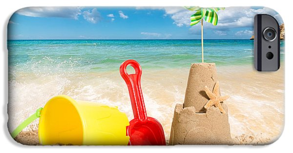 Sandcastles iPhone Cases - Beach Scene iPhone Case by Amanda And Christopher Elwell