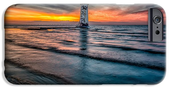 Turbines iPhone Cases - Beach Sunset iPhone Case by Adrian Evans