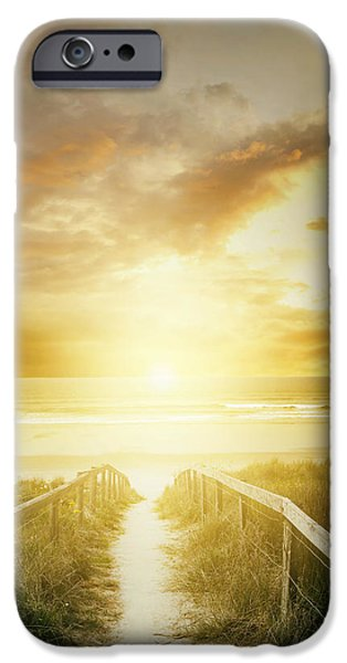 Moody Beach iPhone Cases - Beach walkway iPhone Case by Les Cunliffe