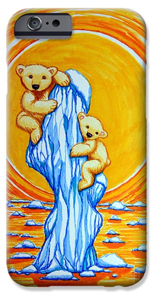 Arctic Drawings iPhone Cases - Bearly Hanging On iPhone Case by Nick Gustafson