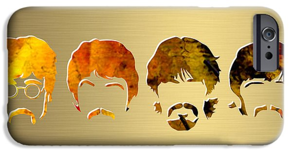 Beatles iPhone Cases - Beatles Gold Series iPhone Case by Marvin Blaine