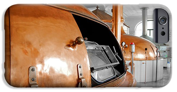 Stainless Steel Pyrography iPhone Cases - Beer factory with large storage tanks iPhone Case by Oliver Sved