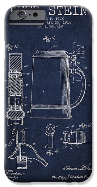 Stein iPhone Cases - Beer Stein Patent from 1914 - Navy Blue iPhone Case by Aged Pixel