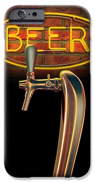 Copy Machine iPhone Cases - Beer Tap Single With Neon Sign iPhone Case by Allan Swart