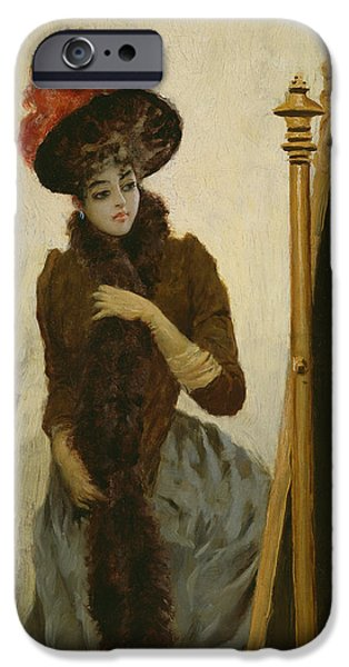 Feathered Hat iPhone Cases - Before the Swing Mirror iPhone Case by Emile Galle