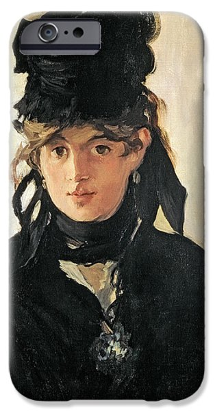 Berthe Paintings iPhone Cases - Berthe Morisot With A Bouquet Of Violets iPhone Case by Celestial Images