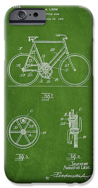 Sled iPhone Cases - Bicycle Gear Patent Drawing from 1922 - Green iPhone Case by Aged Pixel