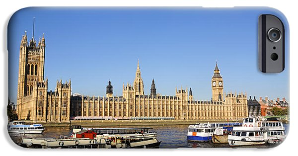 Westminster Palace iPhone Cases - Big Ben and the Houses of Parliament by the River Thames in London England iPhone Case by Robert Preston