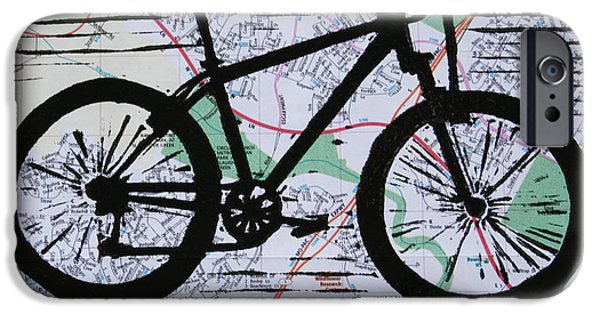 Lino Drawings iPhone Cases - Bike 10 iPhone Case by William Cauthern