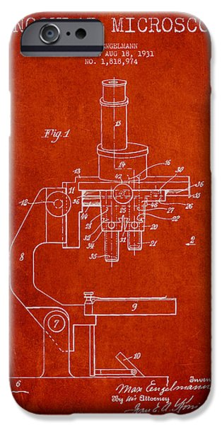 Microscope iPhone Cases - Binocular Microscope Patent Drawing from 1931 - Red iPhone Case by Aged Pixel