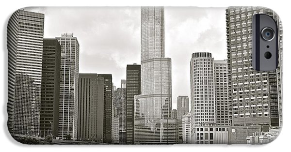 Chicago Cubs iPhone Cases - Black and White Chicago iPhone Case by Frozen in Time Fine Art Photography
